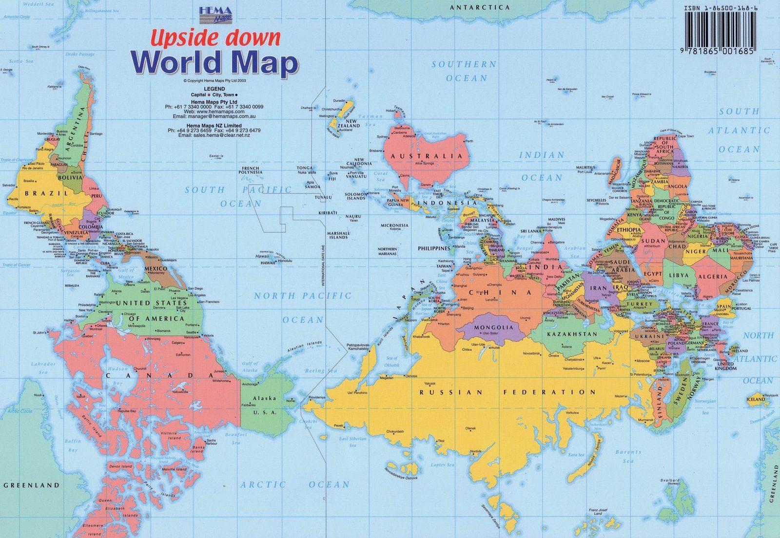 Upp och nedvänd världskarta