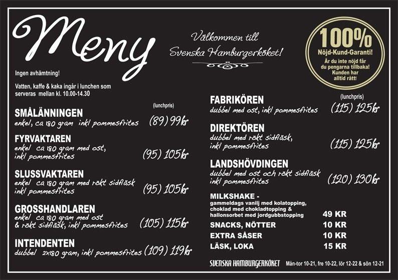 Svenska Hamburgerkökets Meny