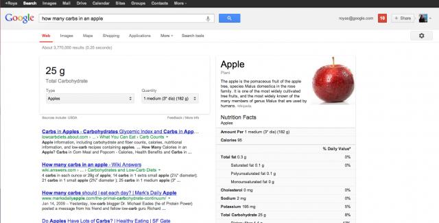Näringsinformation i Googlesök