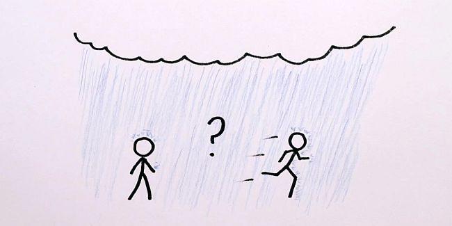 Gå eller springa i regn?