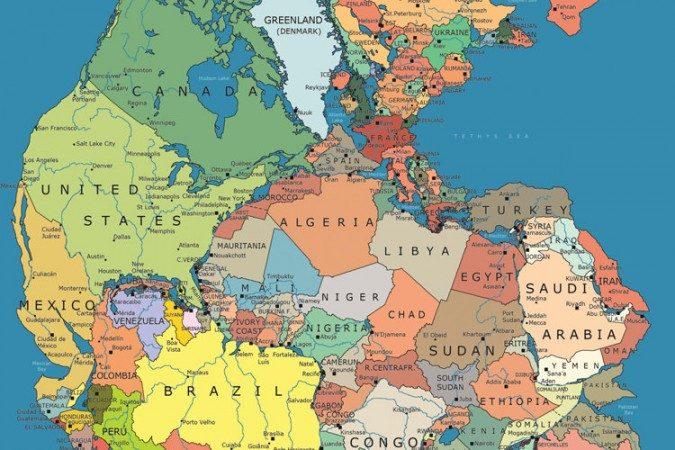 Pangea med dagens politiska gränser