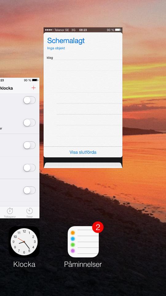 Hur stänger man av appar i iOS7?