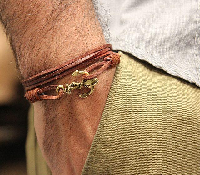 Armband för Män ankare läder