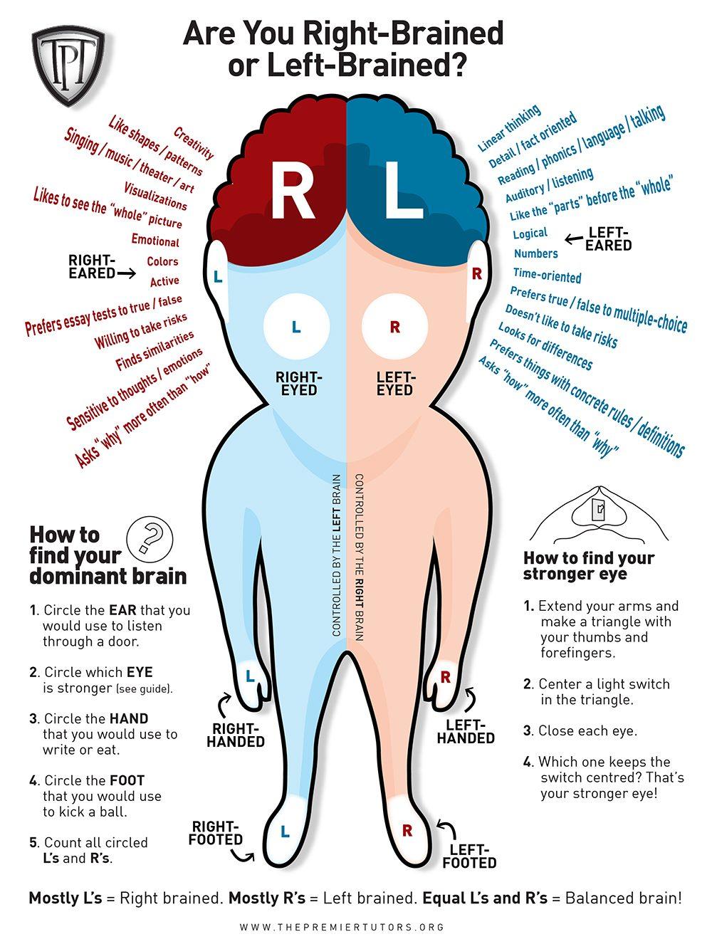 höger vänster hjärnhalva test