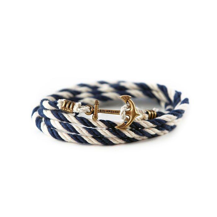 armband för män med ankare vitt och blått