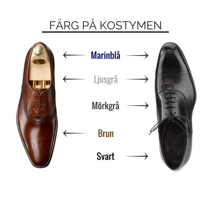 svarta skor till blå kostym