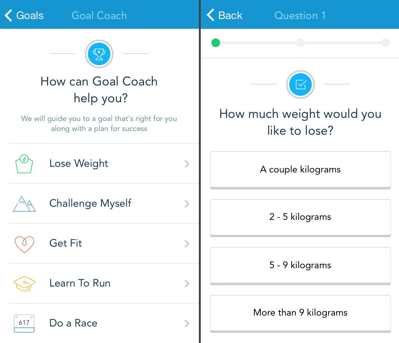 sätta mål för träning med Runkeeper