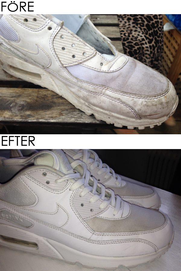 Rengöra sneakers vit skokräm impgregnering