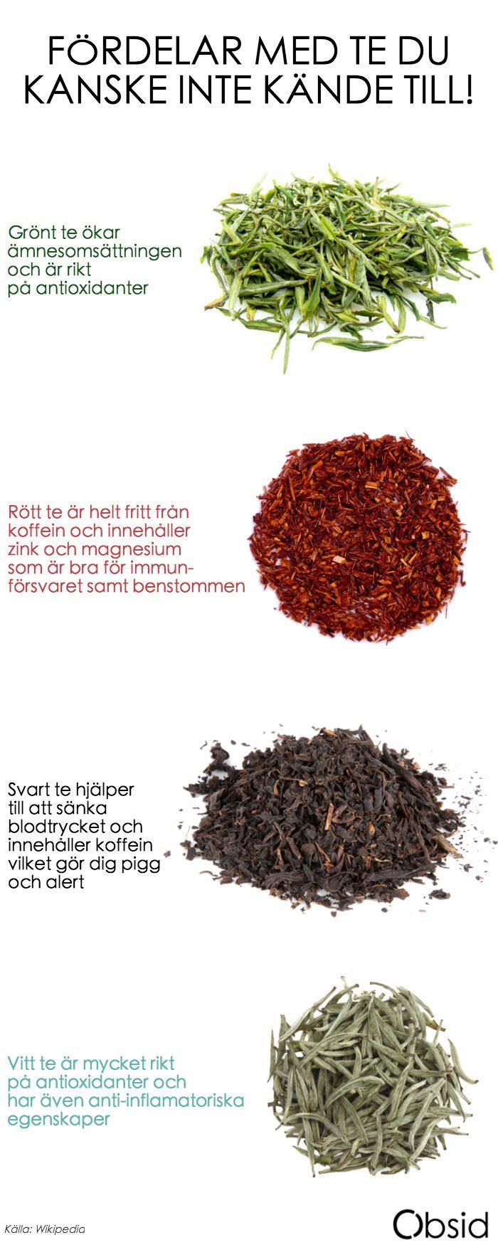 Fördelar med te rött grönt svart vitt
