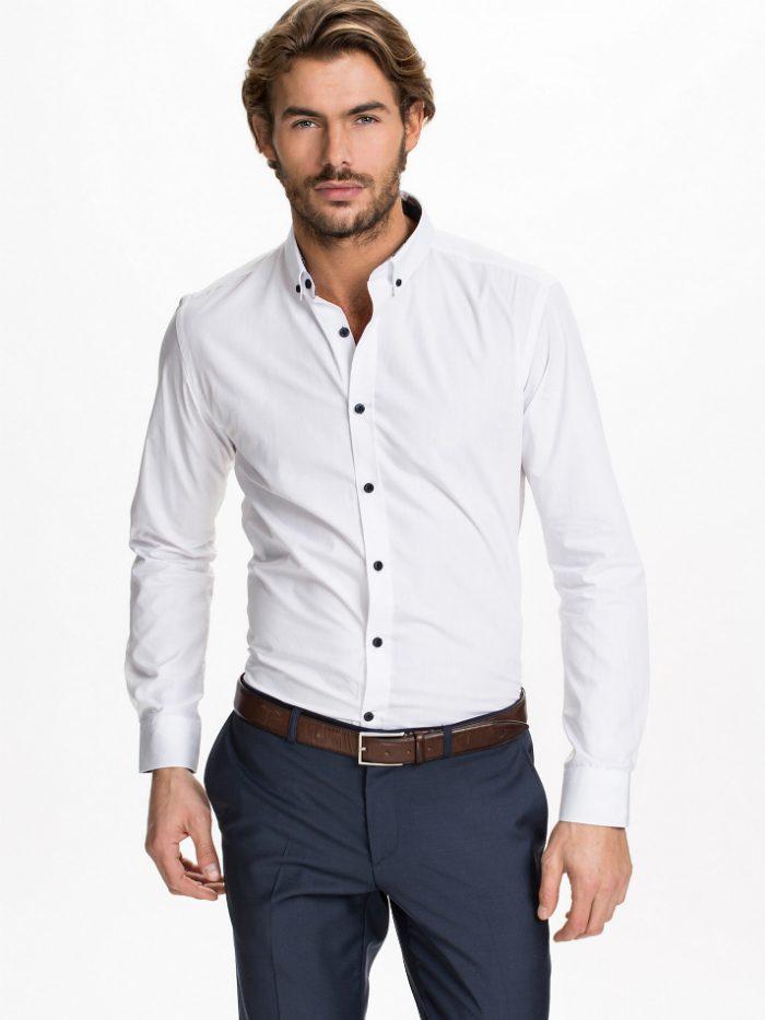 billig vit skjorta herr