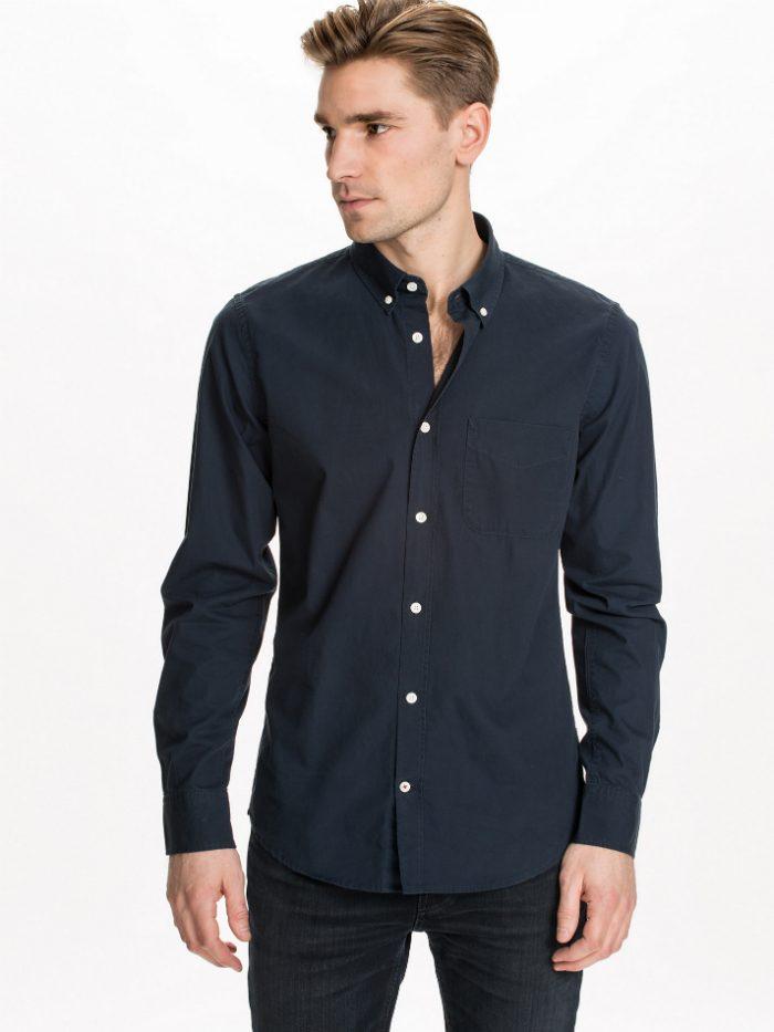 navyblå skjorta herr