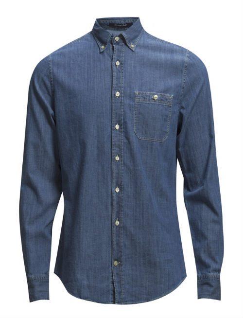 mörkblå jeansskjorta