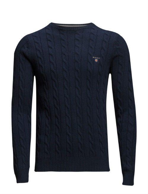 marinblå kabelstickad tröja gant
