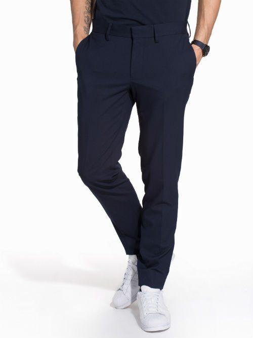marinblå kostymbyxor casual