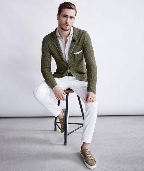 välklädd utan kostym stickad kavaj skjorta