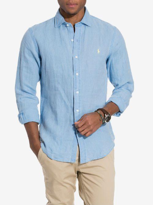 ljusblå linneskjorta herr ralph lauren