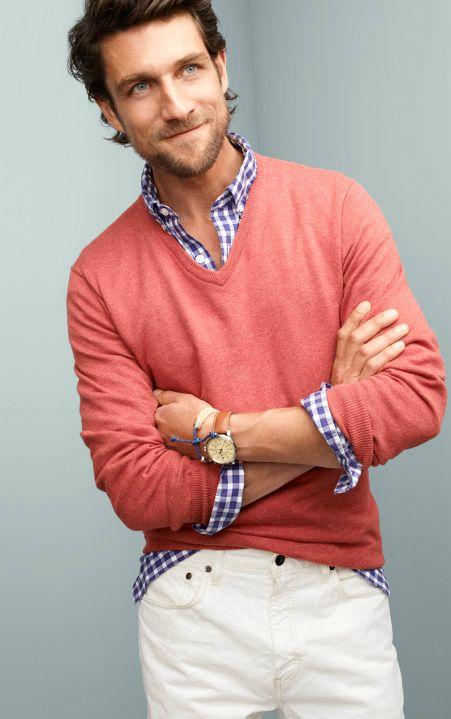 button down-skjorta med tröja övar