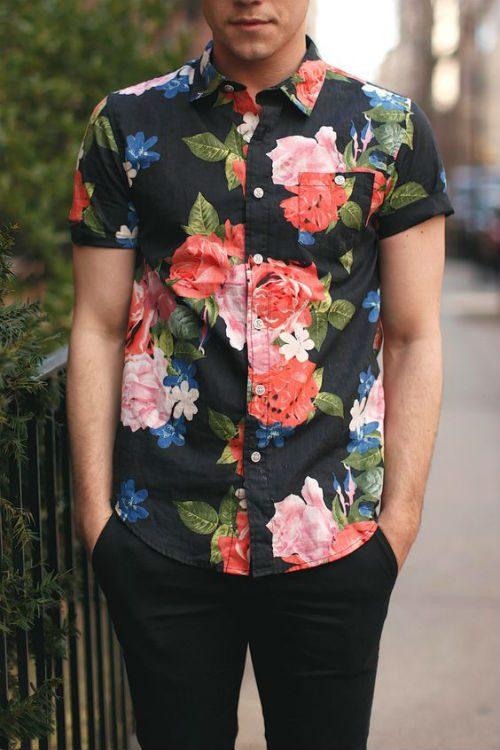 färgglada kläder blommig skjorta