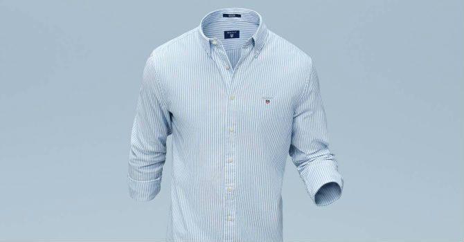 GANT Tech Prep blårandig skjorta