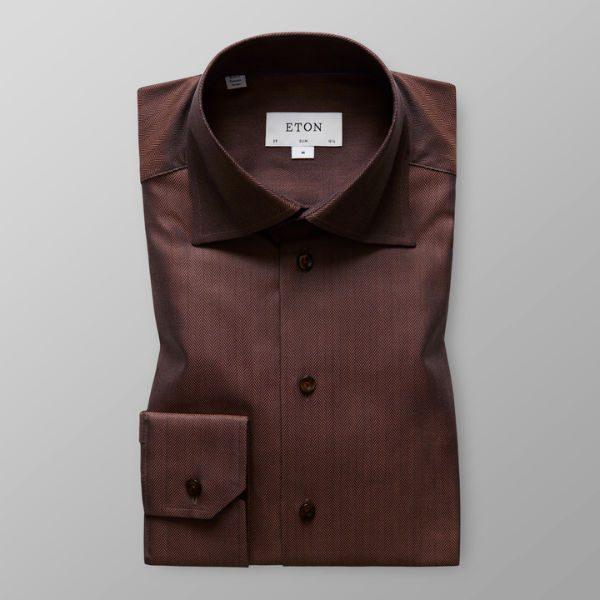 brun skjorta eton herr