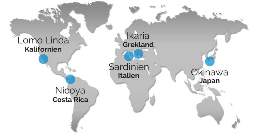 blå zoner karta över världen