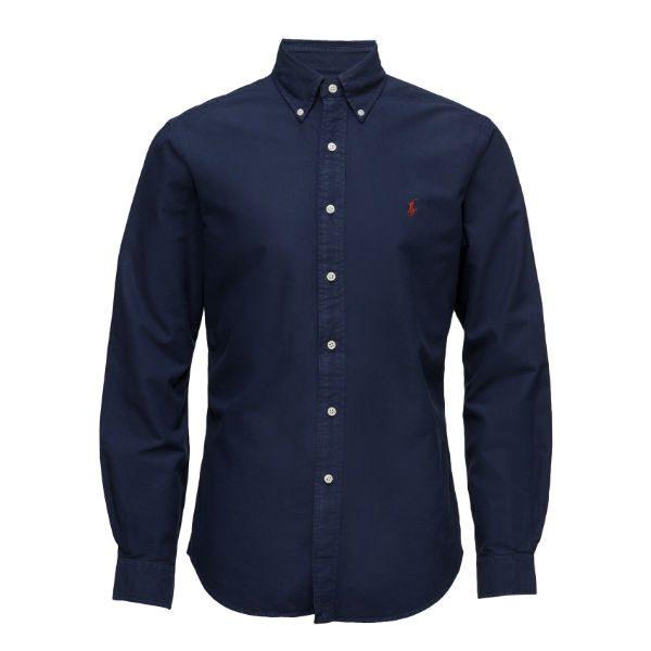 marinblå skjorta button down polo ralph lauren