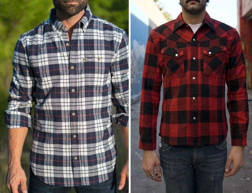flanellskjorta skotskrutig eller gingham rutig