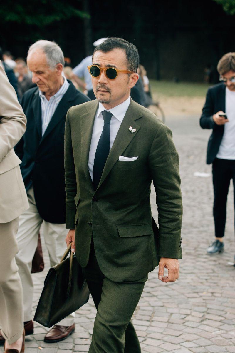 grön kostym herr stil