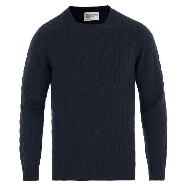 kabelstickad marinblå tröja herr höst 2017
