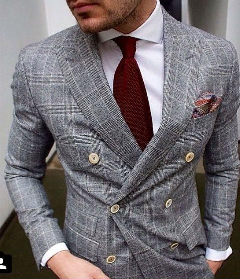 mönstrad kostym grå