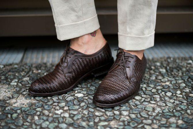 italiensk stil inga strumpor i skorna