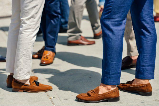 italiensk stil loafers bruna