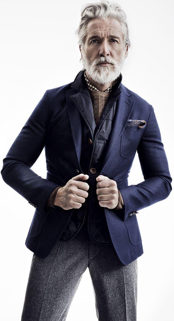 outfit blå kavaj grå ullbyxor väst under kavaj