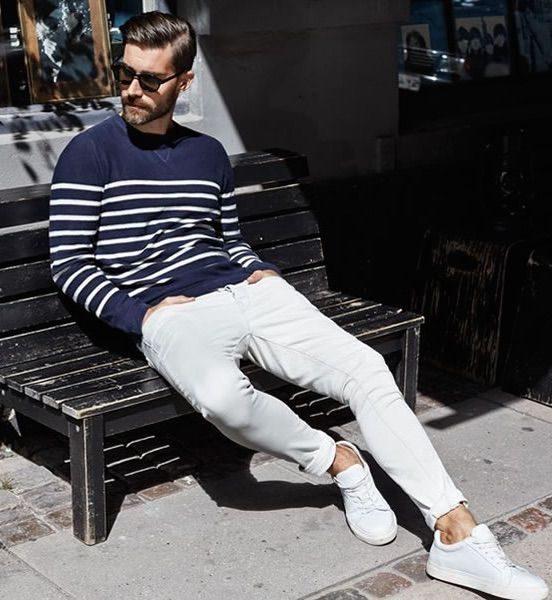 vita jeans blå randig tröja herr vår 2018