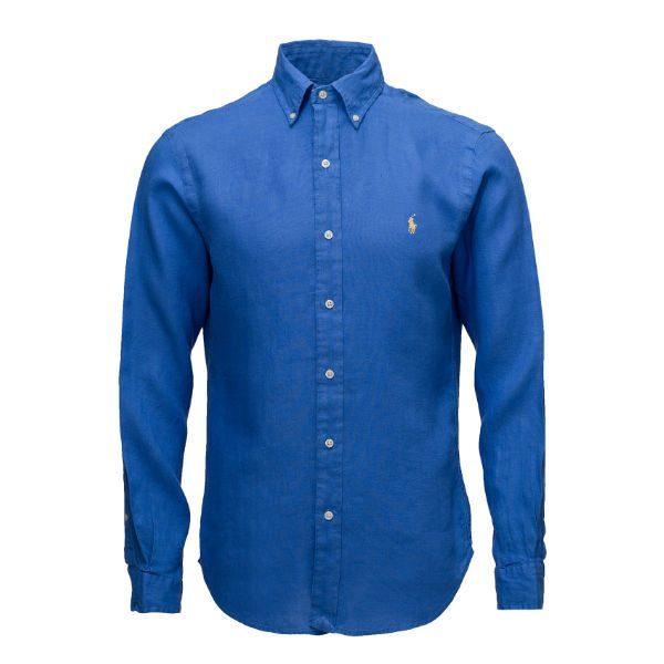 blå linneskjorta herr sommar 2018