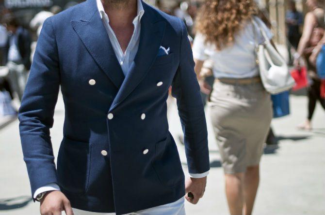 dubbelknäppt kavaj marinblå vit skjorta casual