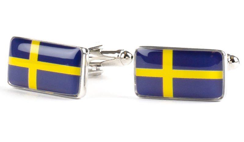 manschettknapp svensk flagga
